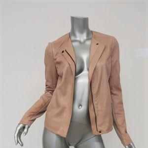 Vince Engineered Perforated Leather Jacket Nude